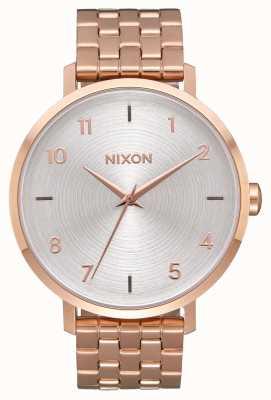 Nixon Strzałka   wszystko różowe złoto / białe   bransoleta ze stali ip w kolorze różowego złota   srebrna tarcza A1090-2640-00