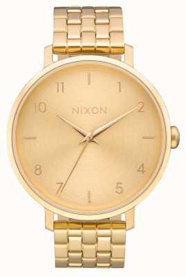 Nixon Strzałka   całe złoto   złota bransoletka ze stali ip   złota tarcza A1090-502-00