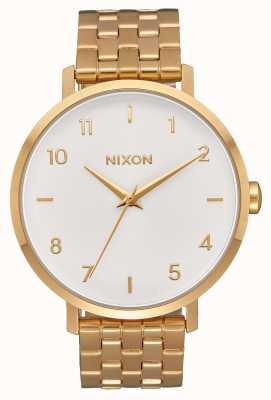 Nixon Strzałka   całe złoto / białe   złota bransoletka ze stali ip   biała tarcza A1090-504-00
