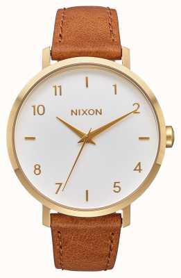 Nixon Skóra ze strzałkami   złoty / biały / siodło   brązowy skórzany pasek   biała tarcza A1091-2621-00