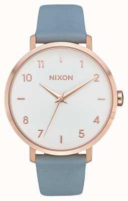 Nixon Skóra ze strzałkami   różowe złoto / niebieski   niebieski skórzany pasek   biała tarcza A1091-2704-00