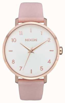 Nixon Skóra ze strzałkami   różowe złoto / jasnoróżowy   różowy skórzany pasek   biała tarcza A1091-3027-00