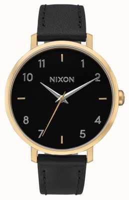 Nixon Skóra ze strzałkami   złoty / czarny   czarny skórzany pasek   czarna tarcza A1091-513-00