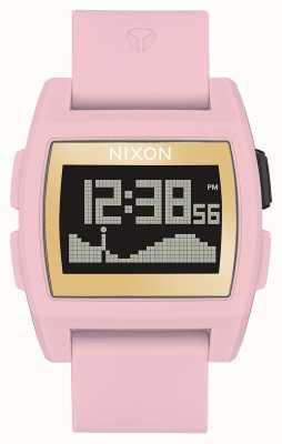 Nixon Przypływ bazowy   delikatny róż / złoto / lewa   cyfrowy   różowy silikonowy pasek A1104-2773-00