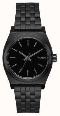 Nixon Kasjer średnioczasowy   wszystko czarne   czarna stalowa bransoletka ip   czarna tarcza A1130-001-00