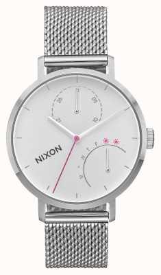 Nixon Sprzęgło   cały srebrny   siatka ze stali nierdzewnej   biała tarcza A1166-1920-00