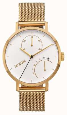 Nixon Sprzęgło   całe złoto / białe   bransoletka z siatki złota ip   biała tarcza A1166-504-00