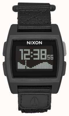 Nixon Nylon pływowy   wszystko czarne   cyfrowy   czarny nylonowy pasek A1169-001-00
