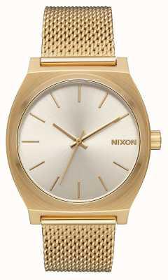 Nixon Licznik czasu Milanese   całe złoto / krem   stalowa siatka ze złota ip   kremowa tarcza A1187-2807-00