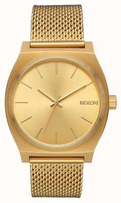 Nixon Licznik czasu Milanese   całe złoto   stalowa siatka ze złota ip   złota tarcza A1187-502-00