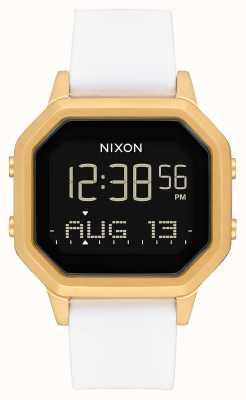 Nixon Syrena ss   złoty / biały   cyfrowy   biały silikonowy pasek A1211-508-00