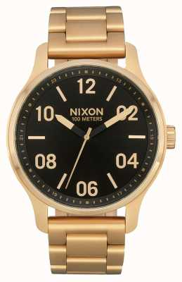 Nixon Patrol   złoty / czarny   złota bransoletka ze stali ip   czarna tarcza A1242-513-00
