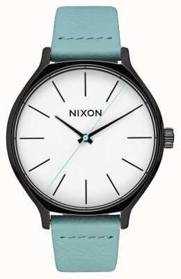 Nixon Skóra Clique   czarny / miętowy   miętowy skórzany pasek   biała tarcza A1250-3317-00