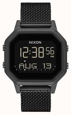 Nixon Syrena milanese   wszystko czarne   cyfrowy   czarna stalowa siatka ip   A1272-001-00