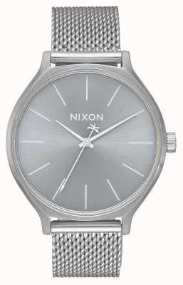 Nixon Clique milanese   cały srebrny   bransoleta z siatki ze stali nierdzewnej   srebrna tarcza A1289-1920-00