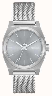 Nixon Średni czas kasjer milanese   cały srebrny   siatka ze stali nierdzewnej   srebrna tarcza A1290-1920-00