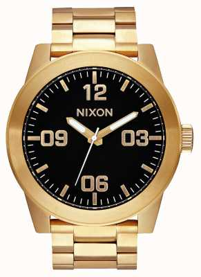 Nixon Kapral ss | cały złoty / czarny | złota bransoletka ze stali ip | czarna tarcza A346-510-00