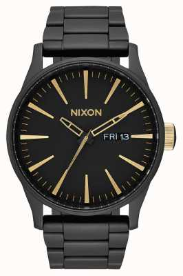 Nixon Sentry ss | matowy czarny / złoty | czarna stalowa bransoletka ip | czarna tarcza A356-1041-00