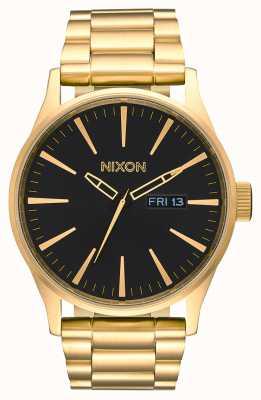 Nixon Sentry ss | cały złoty / czarny | złota bransoletka ze stali ip | czarna tarcza A356-510-00