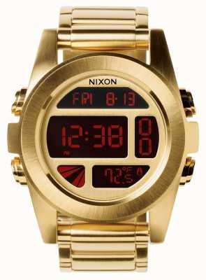 Nixon Jednostka ss   całe złoto   cyfrowy   złota bransoletka ze stali ip   A360-502-00