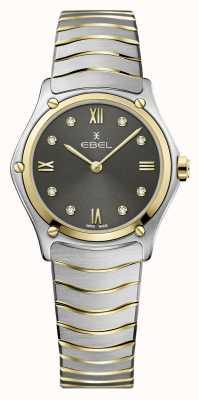 EBEL Klasyczny sportowy damski   dwukolorowa stalowa bransoletka   szara diamentowa tarcza 1216419A