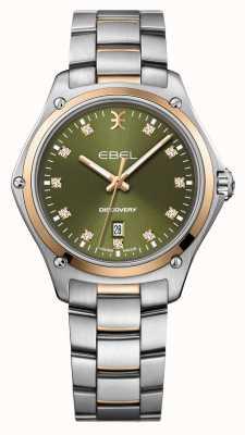 EBEL Odkrycie kobiet   srebrna bransoleta ze stali nierdzewnej   zielona tarcza   1216424