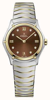 EBEL Klasyczny sportowy damski   dwukolorowa bransoleta ze stali nierdzewnej   brązowa tarcza 1216445A