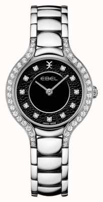 EBEL Beluga kobiet   bransoleta ze stali nierdzewnej   czarna tarcza   zestaw diamentów 1216466