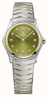EBEL Klasyczny sportowy damski   dwukolorowa stalowa bransoletka   zielona tarcza 1216473A