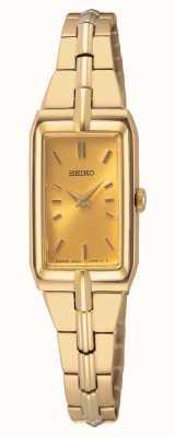 Seiko Damska stalowa bransoletka w kolorze złotym | złota tarcza SWR048J8