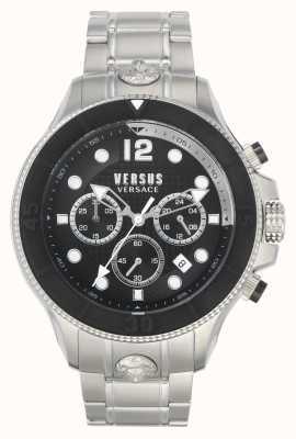 Versus Versace Volta mężczyzn kontra | bransoleta ze stali nierdzewnej | czarna tarcza VSPVV0420