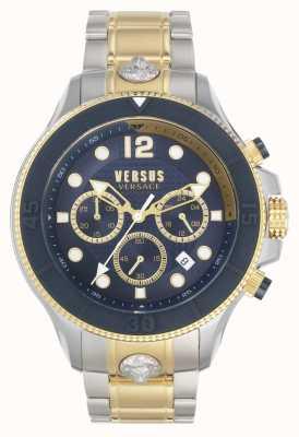 Versus Versace Volta mężczyzn kontra | dwukolorowa stalowa bransoletka | niebieska tarcza VSPVV0520