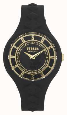Versus Versace Wyspa ognia kobiet | czarny silikonowy pasek | czarna tarcza VSP1R1020