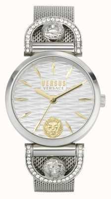 Versus Versace Iseo dla kobiet | bransoleta z siatki ze stali nierdzewnej | biała tarcza VSPVP0420