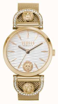 Versus Versace Iseo dla kobiet | bransoletka z siatki w kolorze różowego złota | biała tarcza VSPVP0720