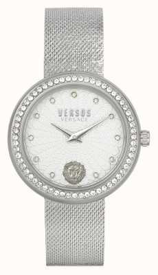Versus Versace | damskie | lea | stal nierdzewna | bransoletka z siateczki | srebrna tarcza | VSPEN1420