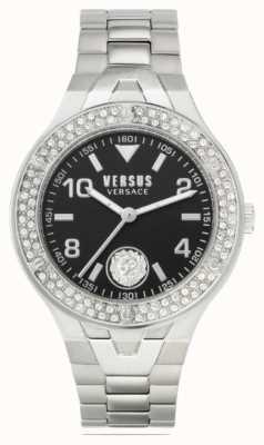 Versus Versace Vittoria dla kobiet | bransoleta ze stali nierdzewnej | czarna tarcza VSPVO0520
