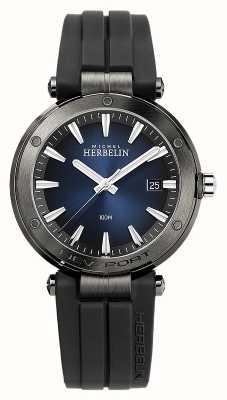 Michel Herbelin Newport dla mężczyzn | czarny gumowy pasek | niebieska tarcza 12288/G15CA