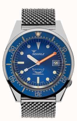 Squale 1521 oczek oceanicznych   niebieska tarcza   bransoletka z siatki ze stali nierdzewnej 1521OCN-CINSS20