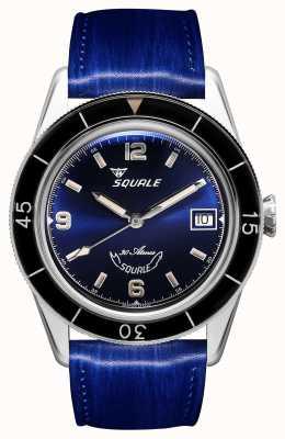Squale 60 lat niebieski   sub-39   niebieski skórzany pasek   niebieska tarcza SUB39BL-CINSQ60BL