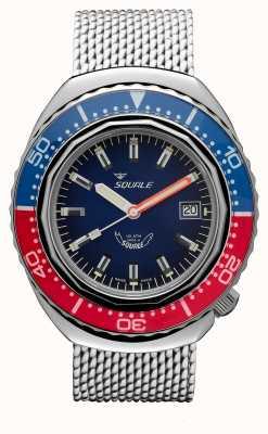 Squale 2002a niebiesko-czerwony | pasek z siatki stalowej | niebieska tarcza B083401-CINSS22