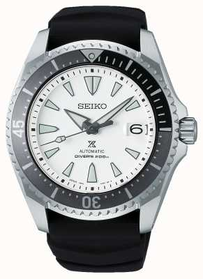 """Seiko Prospex """"shogun""""   czarny silikonowy pasek   biała tarcza SPB191J1"""