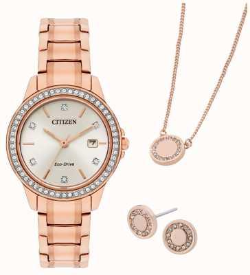 Citizen Zestaw upominkowy - zegarek i biżuteria z platerowanego różowego złota Eco-drive FE1173-52A