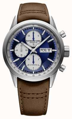 Raymond Weil Freelancer | chrono | automatyczne | niebieska tarcza | brązowa skóra 7732-TIC-50421