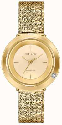 Citizen Ambiluna dla kobiet | bransoletka z siatki w kolorze złotym | tarcza szampana EM0642-52P