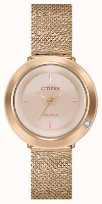 Citizen Ambiluna dla kobiet | bransoletka z siatki w kolorze różowego złota | tarcza z masy perłowej EM0643-50X