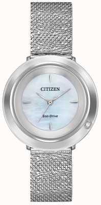 Citizen Ambiluna dla kobiet | bransoleta z siatki stalowej | tarcza z masy perłowej EM0640-58D