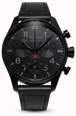Alpina Startimer pilot chrono | czarny skórzany pasek AL-372BB4FBS6
