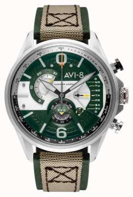 AVI-8 Hawker harrier ii | chronograf | zielona tarcza | zielony skórzany beżowy pasek nato AV-4056-02