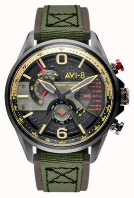 AVI-8 Hawker harrier ii | chronograf | szara tarcza | brązowy skórzany zielony pasek nato AV-4056-03